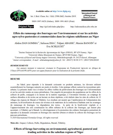 Etude: Effets du ramassage des fourrages sur l'environnement et sur les activités agro-sylvo-pastorales et commerciales au Niger