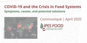 Communiqué: COVID-19 et crise des systèmes alimentaires