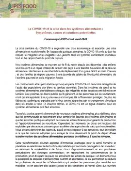 Communiqué - Le COVID-19 et la crise dans les systèmes alimentaires:Symptômes