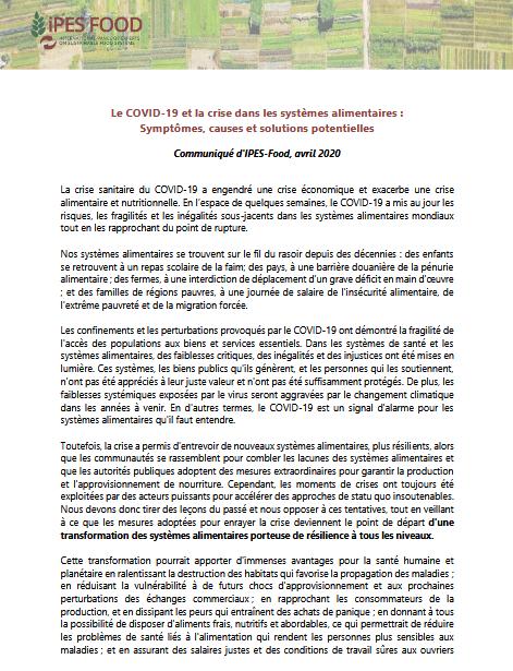 Communiqué - Le COVID-19 et la crise dans les systèmes alimentaires:Symptômes, causes et solutions potentielles