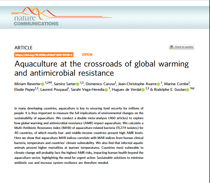 Article scientifique - Aquaculture at the crossroads of global warming and antimicrobial resistance