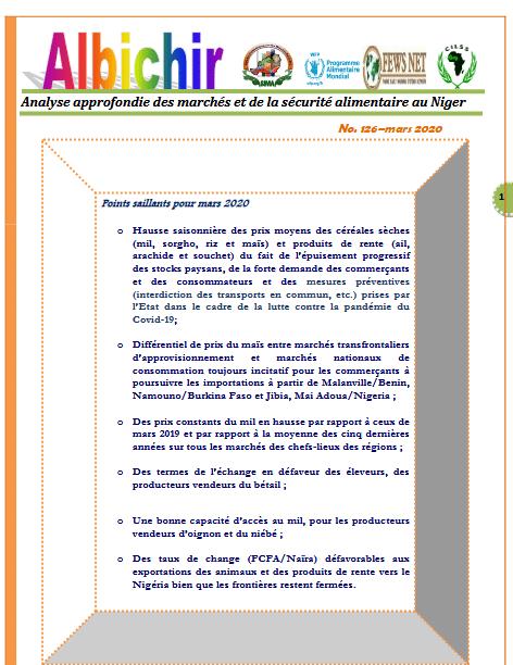 Bulletin - Bulletin Albichir mars 2020 - Analyse approfondie des marchés et de la sécurité alimentaire au Niger.