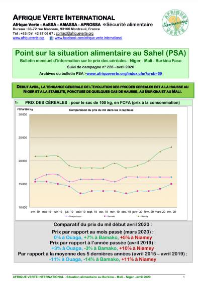 Point sur la situation alimentaire au Sahel - avril 2020