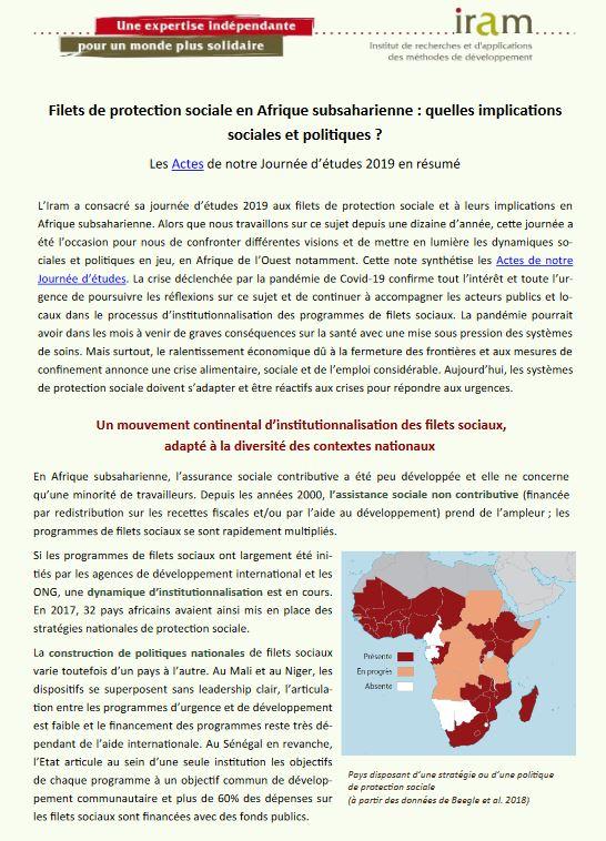 Synthèse - Filets de protection sociale en Afrique subsaharienne : quelles implications sociales et politiques ?