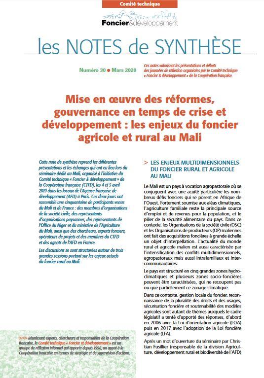 Synthèse - Mise en œuvre des réformes, gouvernance en temps de crise et développement : les enjeux du foncier agricole et rural au Mali