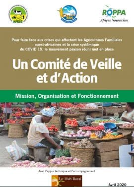 Note - Mise en place d'un Comité de Veille et d'Action des OP sur les impacts du COVID19