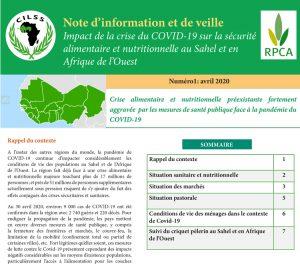 Note d'information et de veille – Impact de la crise de COVID-19 sur la sécurité alimentaire et nutritionnelle