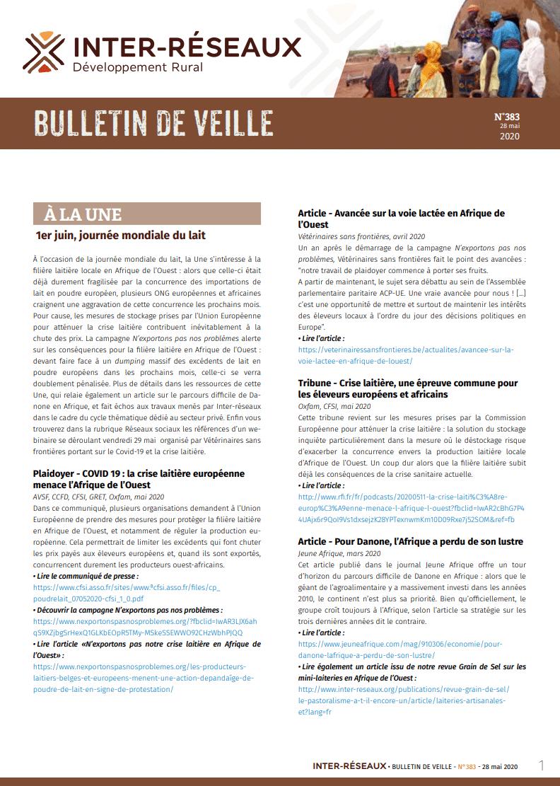 Bulletin de veille n°383