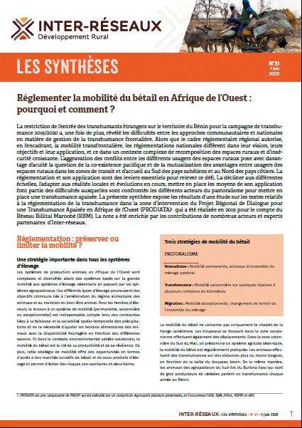 Synthèse n°31 : Réglementer la mobilité du bétail en Afrique de l'Ouest