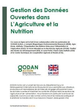 Formation - Gestion des données ouvertes en Agriculture et Nutrition