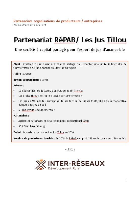 Fiche d'expérience - Les Jus Tillou : Une société à capital partagé pour l'export de jus d'ananas bio