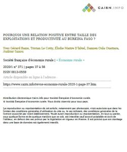 Article: Pourquoi une relation positive entre taille des exploitations et productivité au Burkina Faso ?