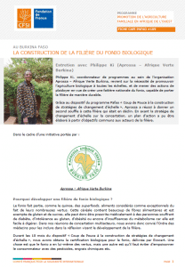 Fiche d'entretien : La construction de la filière du fonio biologique au Burkina Faso