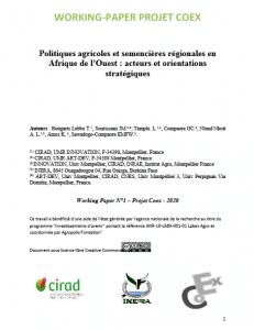 Document de travail - Politiques agricoles et semencières régionales en Afrique de l'Ouest : acteurs et orientations stratégiques