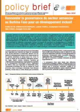 Policy brief - Renouveler la gouvernance du secteur semencier au Burkina Faso pour un développement inclusif