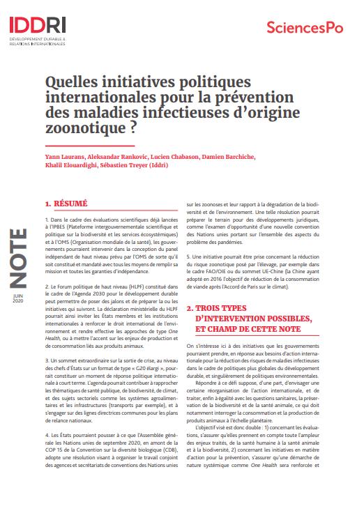 Note -Quelles initiatives politiques internationales pour la prévention des maladies infectieuses d'origine zoonotique ?