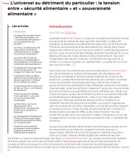 Article - L'universel au détriment du particulier : la tension entre « sécurité alimentaire » et « souveraineté alimentaire »