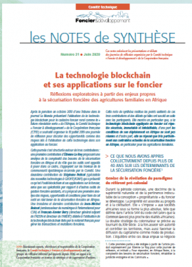 Note : La technologie blockchain et ses applications sur le foncier