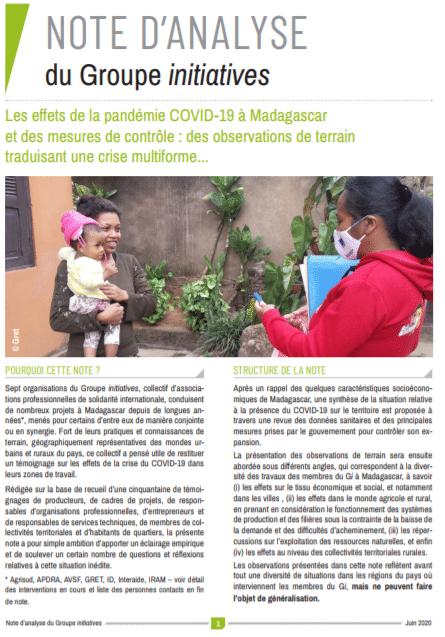 Note :  Les effets de la pandémie COVID-19 à Madagascar et des mesures de contrôle