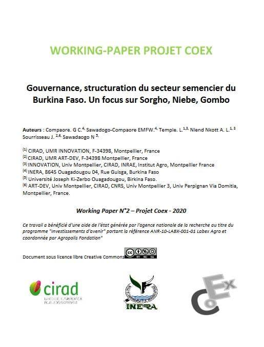Article - Gouvernance, structuration du secteur semencier du Burkina Faso. Un focus sur Sorgho, Niebe, Gombo