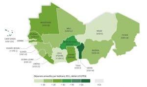 Carte - Les filets sociaux en Afrique de l'Ouest restent sous-financés