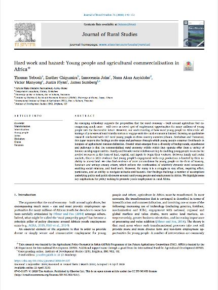 Article - Hard work and hazard: Young people and agricultural commercialisation in Africa