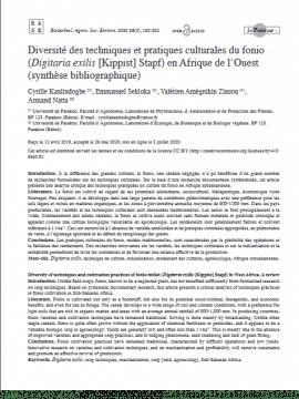 Article - Diversité des techniques et pratiques culturales du fonio (Digitaria exilis S.) en Afrique de l'Ouest (synthèse bibliographique)