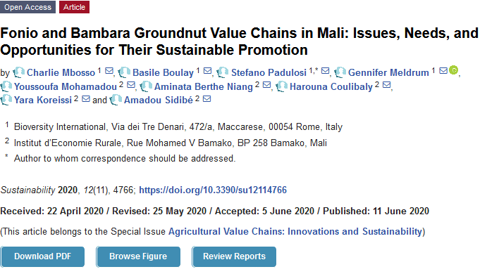 Article - Fonio and Bambara Groundnut Value Chains in Mali: Issues, Needs, and Opportunities for Their Sustainable Promotion
