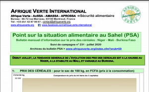 Bulletin - Point Situation Alimentaire n°231 - juillet 2020