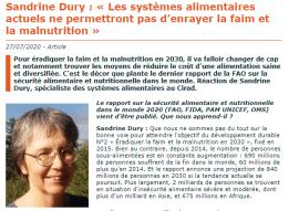 Entretien : « Les systèmes alimentaires actuels ne permettront pas d'enrayer la faim et la malnutrition »