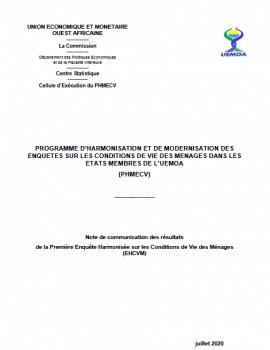 Note - résultats de la Première Enquête Harmonisée sur les Conditions de Vie des Ménages (EHCVM)
