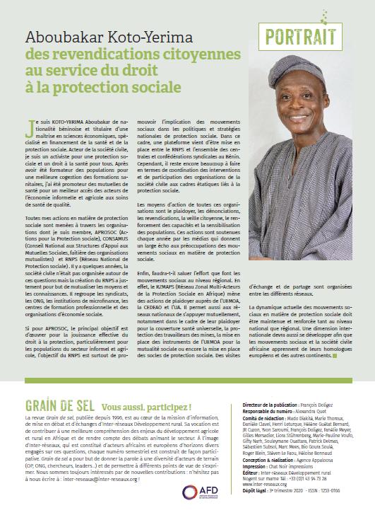 Portrait : Aboubakar Koto-Yerima, des revendications citoyennes au service du droit à la protection sociale
