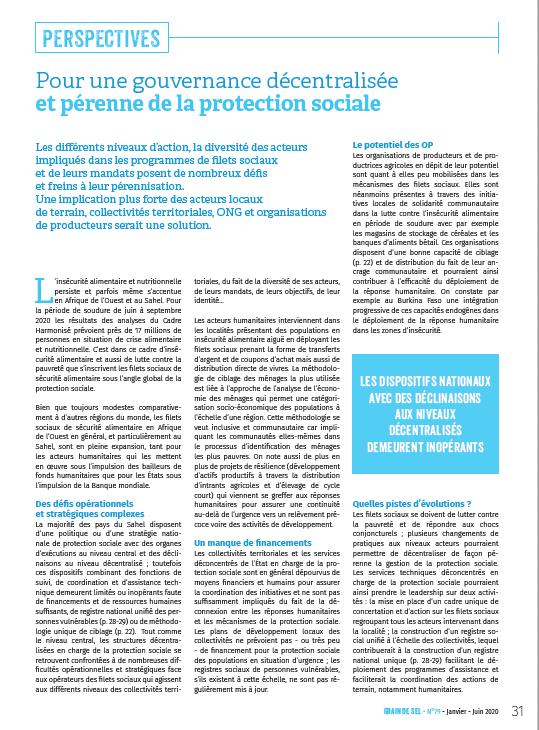 Pour une gouvernance décentralisée et pérenne de la protection sociale