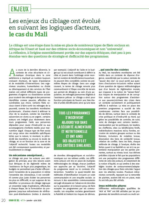 Les enjeux du ciblage ont évolué en suivant les logiques d'acteurs, le cas du Mali
