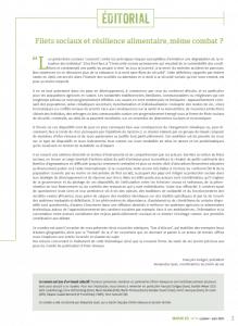 Editorial - Filets sociaux et résilience alimentaire