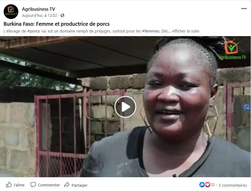 Portrait vidéo - Clarisse, productrice de porc au Burkina Faso
