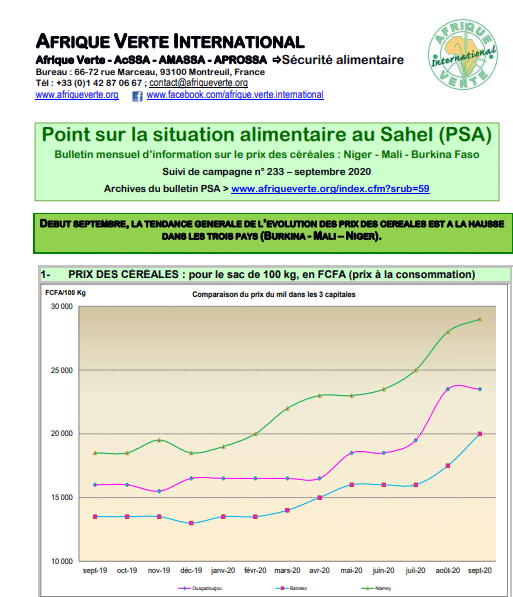Point Situation Alimentaire n°233 - septembre 2020