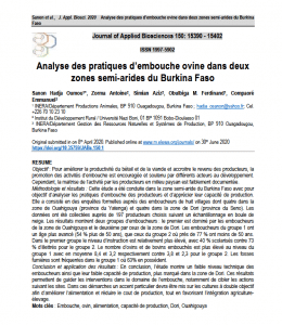 Article scientifique - Analyse des pratiques d'embouche ovine dans deux zones semi-arides du Burkina Faso