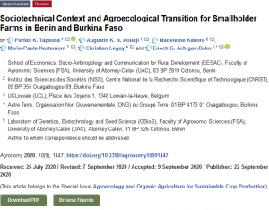 Article scientifique - Sociotechnical Context and Agroecological Transition for Smallholder Farms in Benin and Burkina Faso