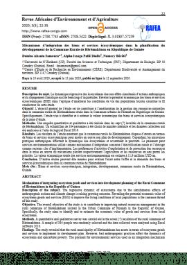 Article scientifique - Mécanismes d'intégration des biens et services écosystémiques dans la planification du développement de la Commune Rurale de Hèrèmakönon en République de Guinée
