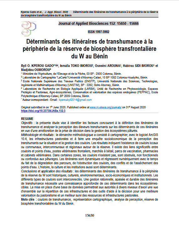 Article scientifique - Déterminants des itinéraires de transhumance à la périphérie de la réserve de biosphère transfrontalière du W au Bénin