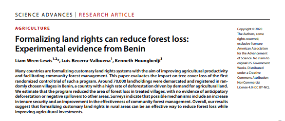 Article de recherche - Formalizing land rights can reduce forest loss: Experimental evidence from Benin