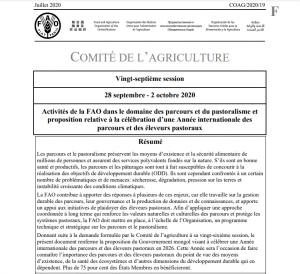Inter- réseaux soutient l'adoption d'une Année Internationale des parcours et des éleveurs pastoraux