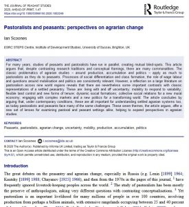 Article - Pastoralists and peasants: perspectives on agrarian change