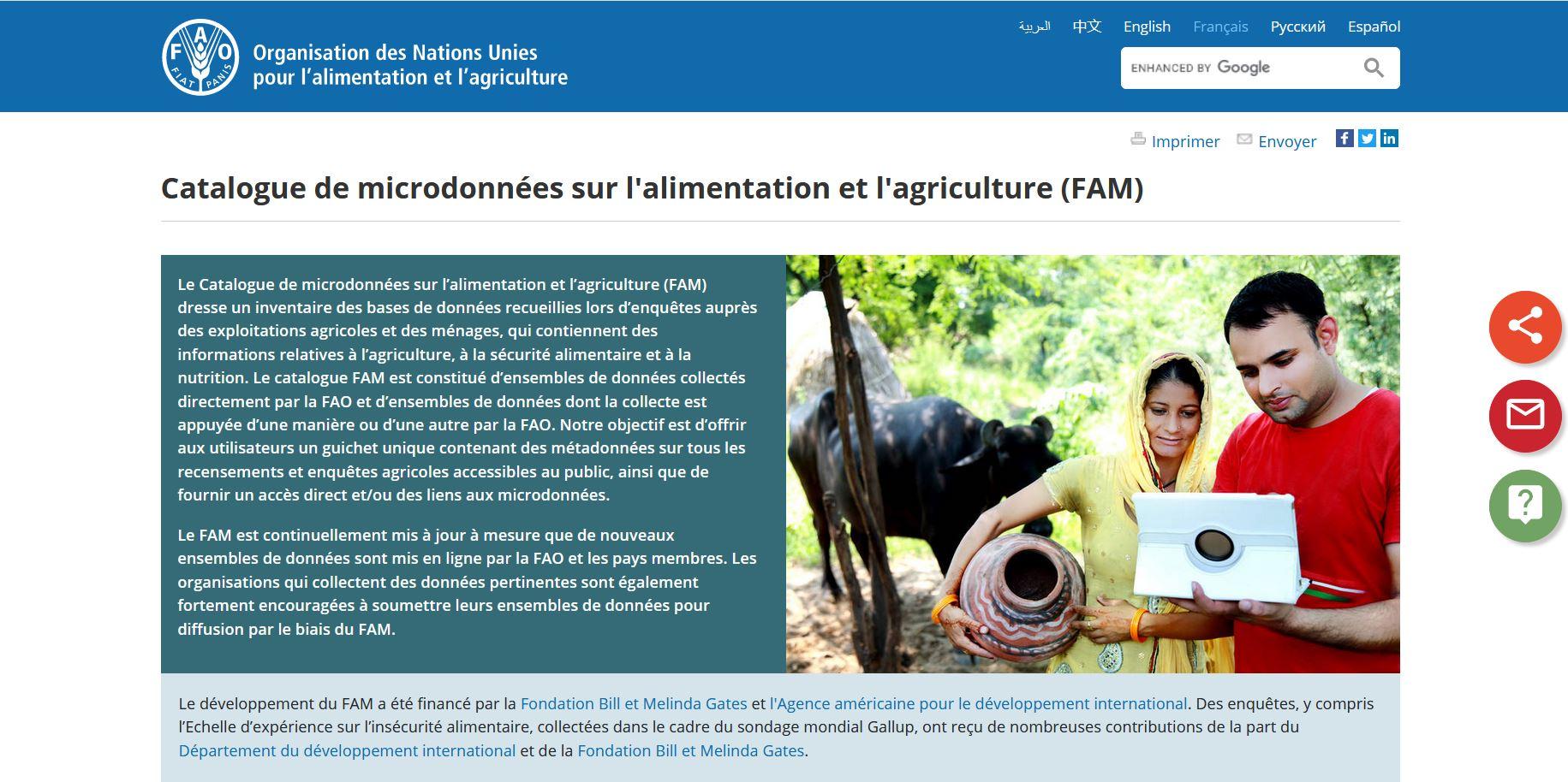 Catalogue - Microdonnées sur l'alimentation et l'agriculture