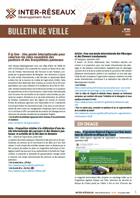 Bulletin de veille n°392