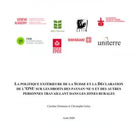 Etude - La politique extérieure de la Suisse et la déclaration de l'ONU sur le droit des paysan.ne.s et des autres personnes travaillant dans les zones rurales