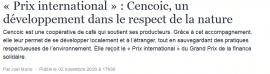 Article Vue d'ailleurs - « Prix international » : Cencoic