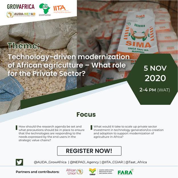 Webinar: Technology-driven modernization of African agriculture – What role for the Private Sector?