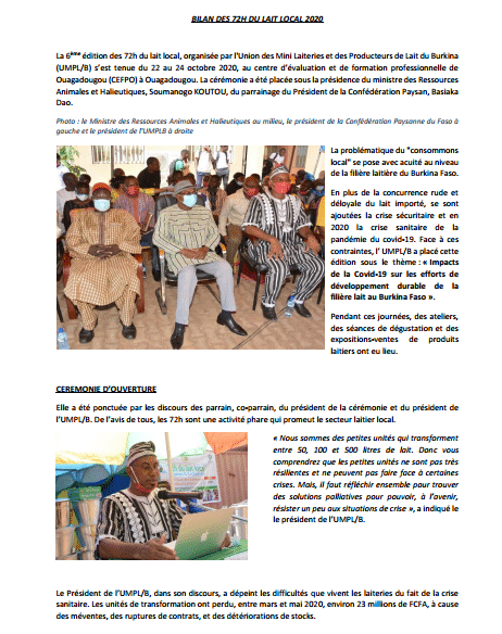 Compte rendu d'évènement - Les 72H du lait local à Ouagadougou
